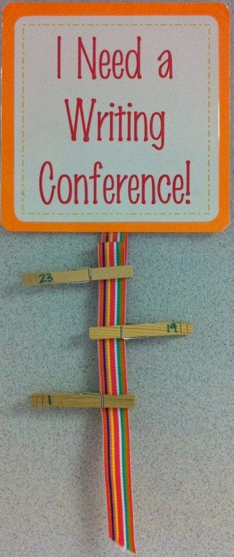 """Writing Conference requests because I can't stand the chaos of """"I'm doooone!!! I need heeeeelp!!Teach kids to raise hand for help and put their clothespin up when done"""
