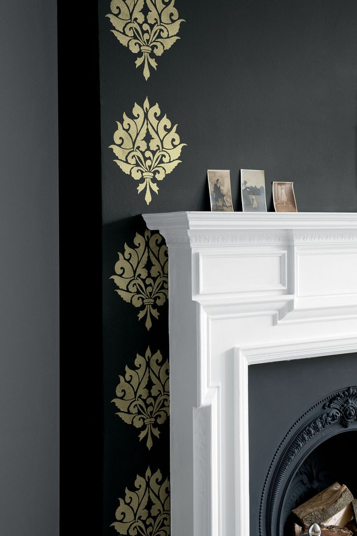Fireplace With A Gold Stencil Painted In Millionaire