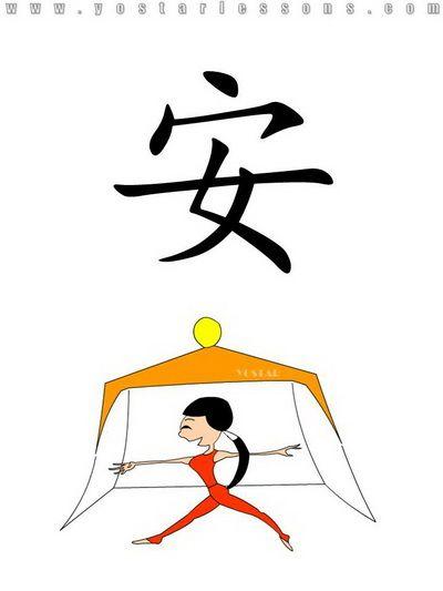 安 = safe. Imagine a women feeling safe in a house. Easy Chinese Lessons @ www.yostarlessons.com