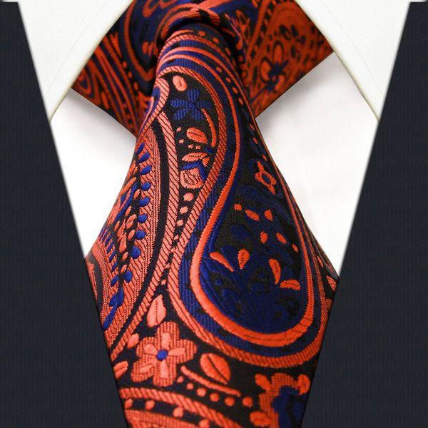 P18 Paisley Orange Navy Mens Neckties Ties 100% Silk Jacquard Woven Brand New