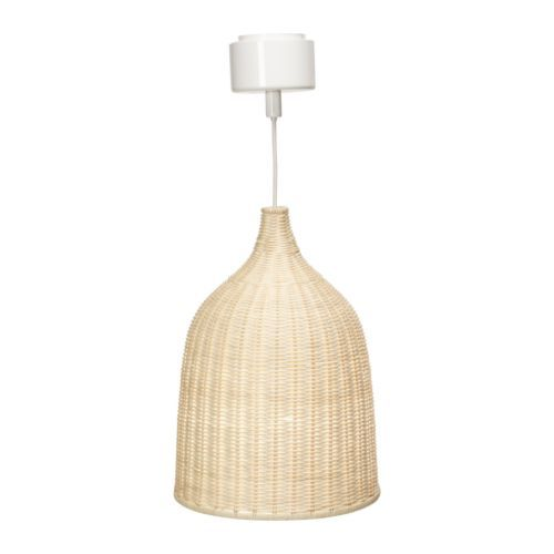 LERAN Pendant lamp IKEA Handmade shade; each shade is unique. Gives both directed and diffused light, good for lighting up a dining table.  Another possibility for the lounge???