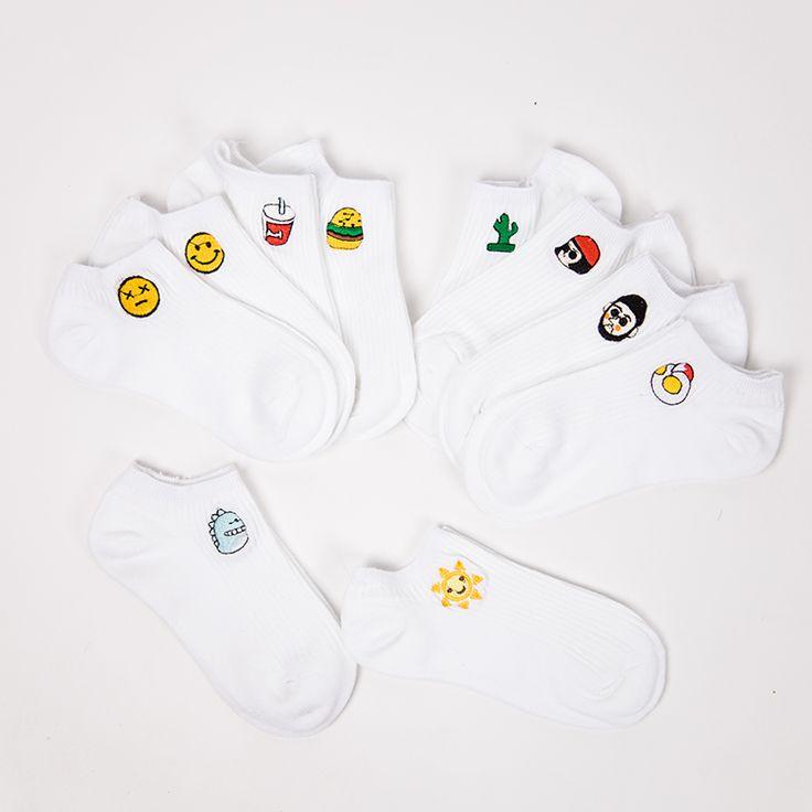 Купить товар35 39 Женские Летние Хлопчатобумажные Носки Harajuku Белый…