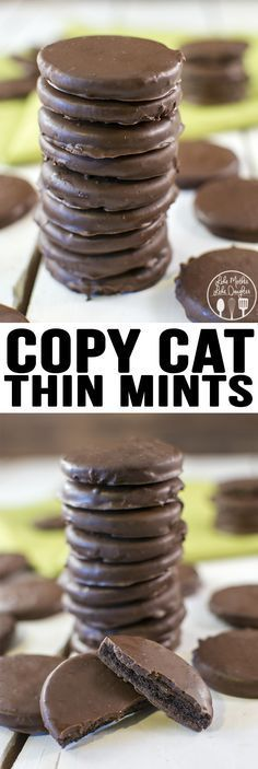 Copy Cat Thin Mints - These homemade thin mints are only 3 ingredients, easy to make and taste just like the real thing. So you can have these delicious chocolate mint girl scout cookies all year long!