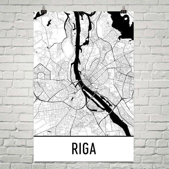 Riga Map Art Print, Riga Latvia Art Poster, Riga Wall Art, Riga Gift, Riga Poster, Riga Print, Map of Riga, Birthday, Decor, Modern, Art