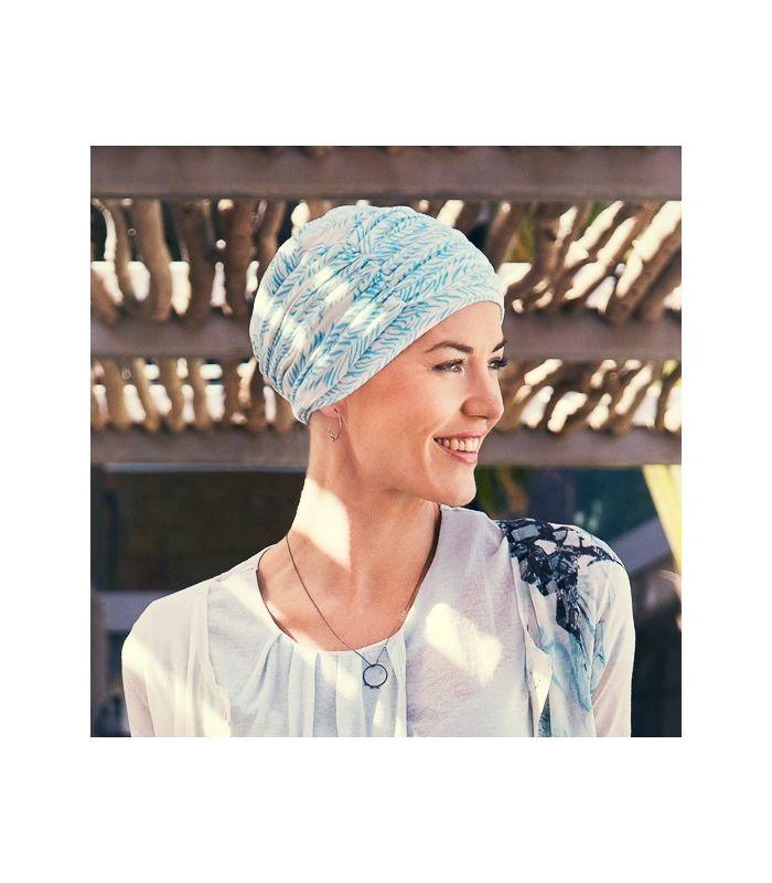 59 € - Mix création, 1 bonnet chimio bleu + 1 bandeau bambou bleu, en bambou très confortable, indispensable pour couvrir un chute de cheveux, alopécie...