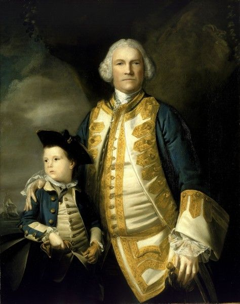 Admiral Francis Holburne (1704-1771) with his son Francis Sir Joshua Reynolds (1723-1792) Oil on canvas, 1756