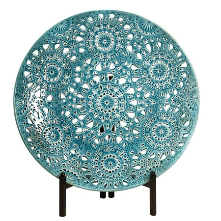 Turquoise Charger Plate with Stand.