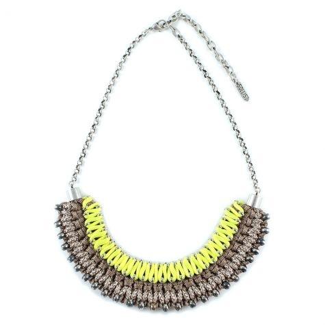 Inez necklace (Beige/Neon Yellow) by Sollis Jewellery