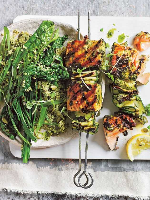 Pesto salmon skewers with green couscous salad | Pinned to Nutrition Stripped | Entrees