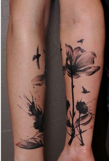 Atelier Joya: Flowers Tattoo, Watercolor, Tattoo Flowers, Natural Tattoo, Black Flowers, Tattoo Patterns, Poppies, Tattoo Design, Design Tattoo