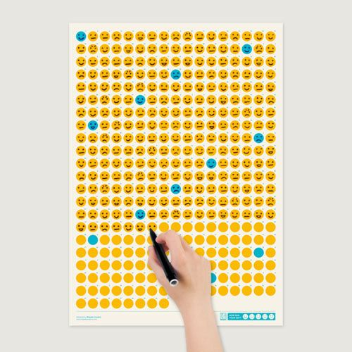 """How was your day?"" is the first of the series of calendars called Life Calendars by Brigada Creativa that highlights an aspect of life. The 365 days are represented by an emoticon that you have to draw as the day has gone (very good, good, regular, bad, very bad)."