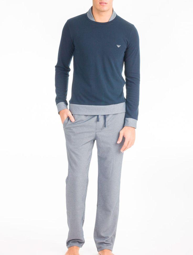 Pijama hombre 4a572 Puño, bajo camiseta y cuello interesante.