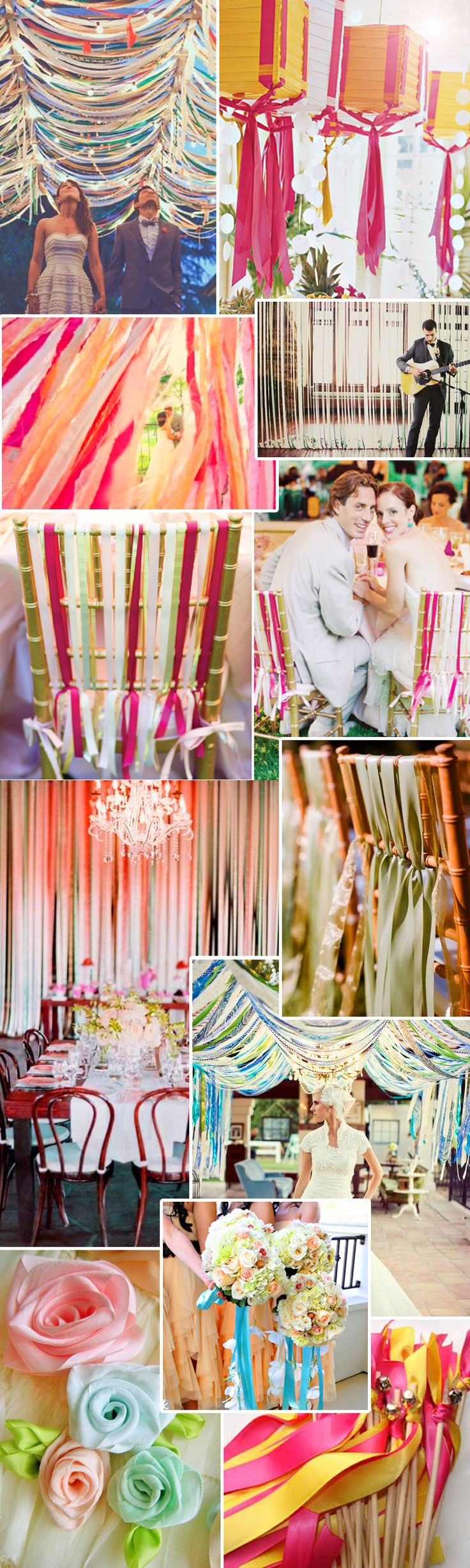 Ribbons! Love this for wedding decorations! Great way to add lots of color!: Wedding Decorations, Decorations Including, Wedding Ribbon Decorations Wow, Ribbon Wands, Wedding Ideas, Decor Inspiration, Art Wedding Ribbon Decorations, Chair Decorations