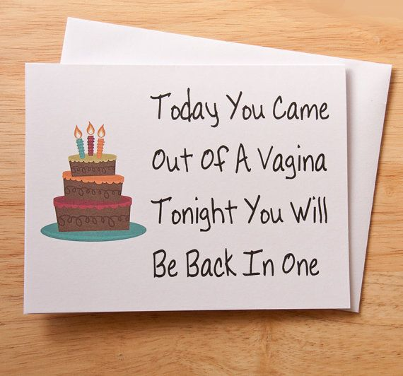 Funny, sexy birthday card for the man in your life.  4.25 x 5.50 (A2) card, printed on white, 110# heavy, matte card stock. Comes with white envelope.  Folded card is blank inside for your personal message.  Note cards are inserted into a cello sleeve, and mailed in a heavy, rigid, stay flat mailer, with tracking. Shipped via USPS. All items will be delivered to you via the contact information and shipping information provided on your Etsy account ONLY.  All items are printed in house, and…