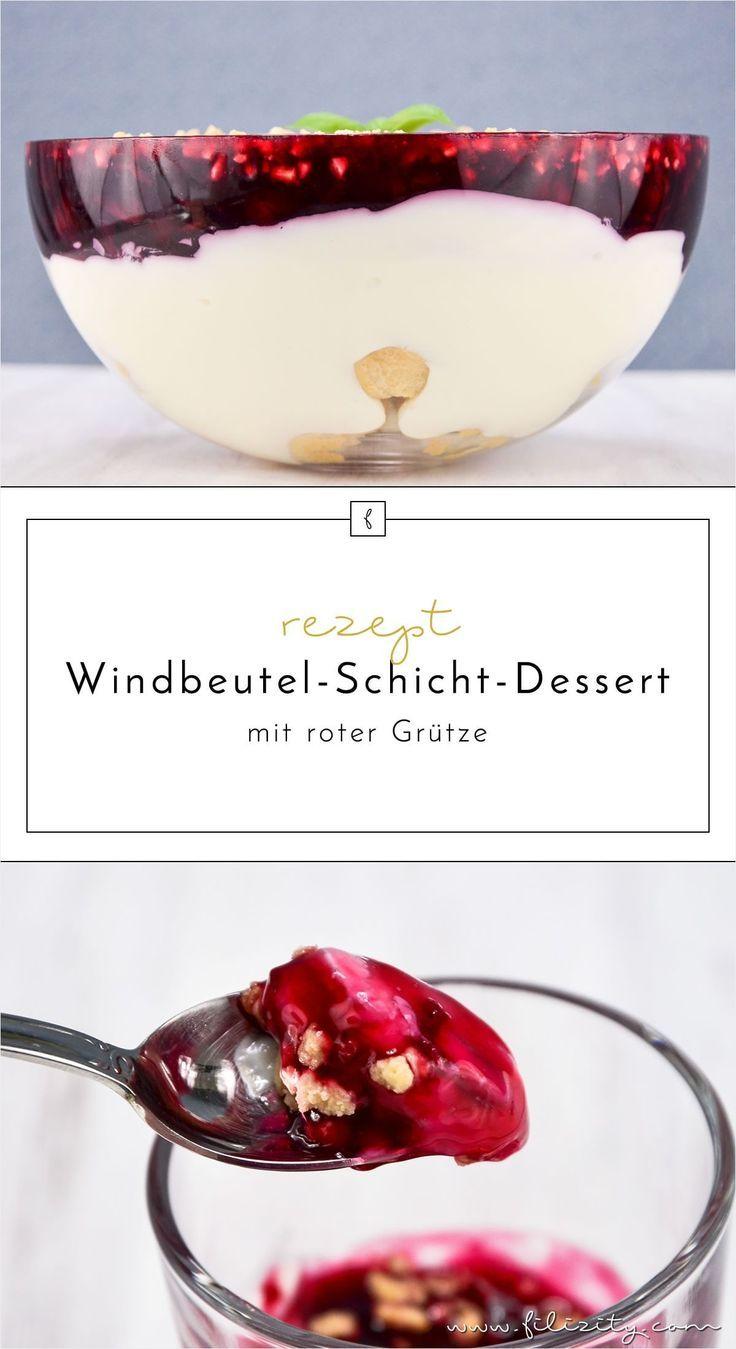 Windbeutel-Schicht-Dessert mit roter Grütze