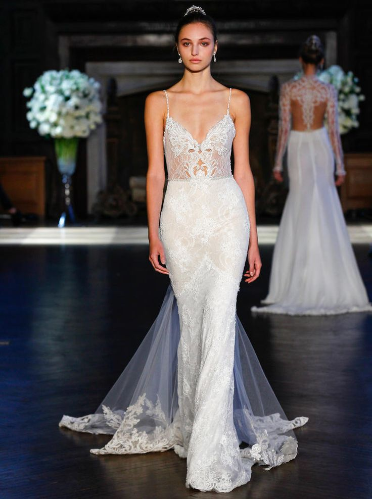 Alon Livne Fall 2016 V-neckline illusion bodice and lace overlay wedding dress | https://www.theknot.com/content/alon-livne-wedding-dresses-bridal-fashion-week-fall-2016