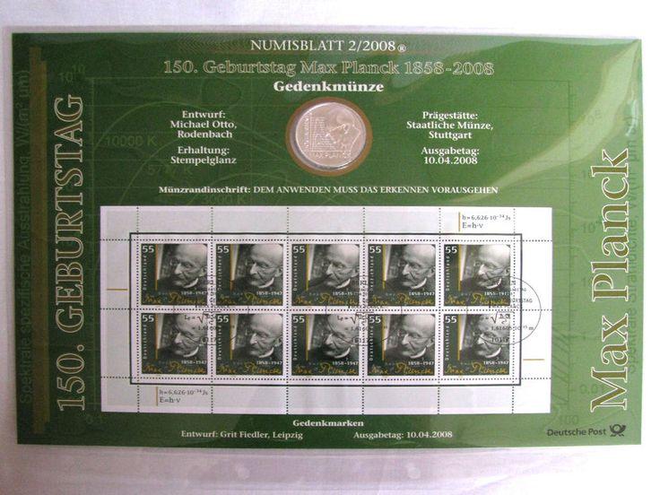 #Coin #Sheets. #coin and #Stamp Collection, Numisblatt von der deutschen Post mit der Nummer 2 aus dem Jahr 2008: 150. Geburtstag Max Planck 1858-2008. Briefmarken und Münze, http://www.sammler-und-hobbyshop.eu/Numisblatt-2/2008-150-Geburtstag-Max-Planck-1858-2008
