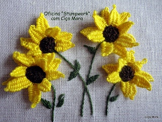 Stumpwork Flowers - with woven picot - so sunshiny!