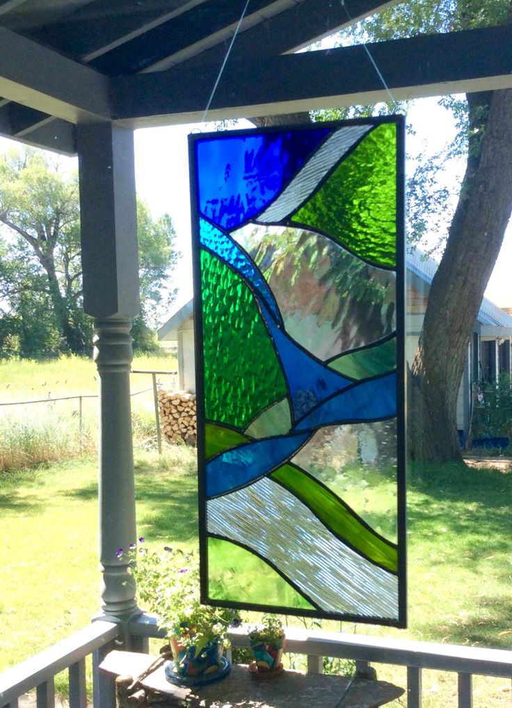 STAINED GLASS WINDOW - Abstract in blues, greens and textured clear by Tristansartworks on Etsy https://www.etsy.com/ca/listing/468654053/stained-glass-window-abstract-in-blues