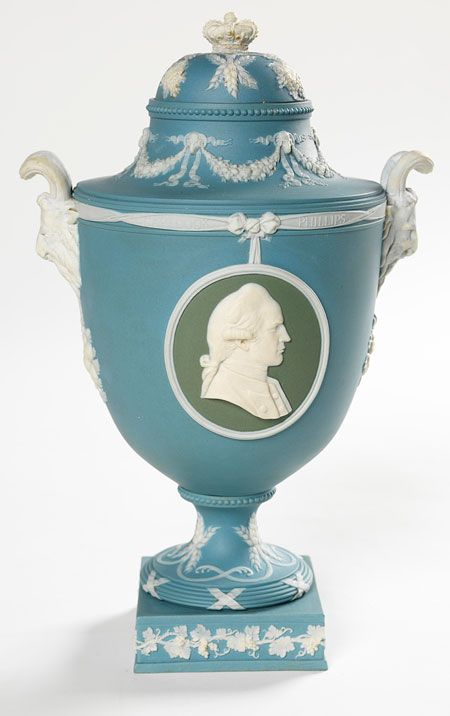 Vase, 1906 Blue & white jasper ware with two green & white jasper ware panels / Pieces of Wedgwood Display - State Library of NSW. Wedgwood's association with Australia started in the 1770s when the firm produced cameo portraits depicting scientists and collectors connected with Cook's Pacific voyages. This display comes from the Mitchell Library's realia collection. The collection includes 70 Wedgwood medallions, portrait medallions & vases dating from the 18th to the 21st centuries.