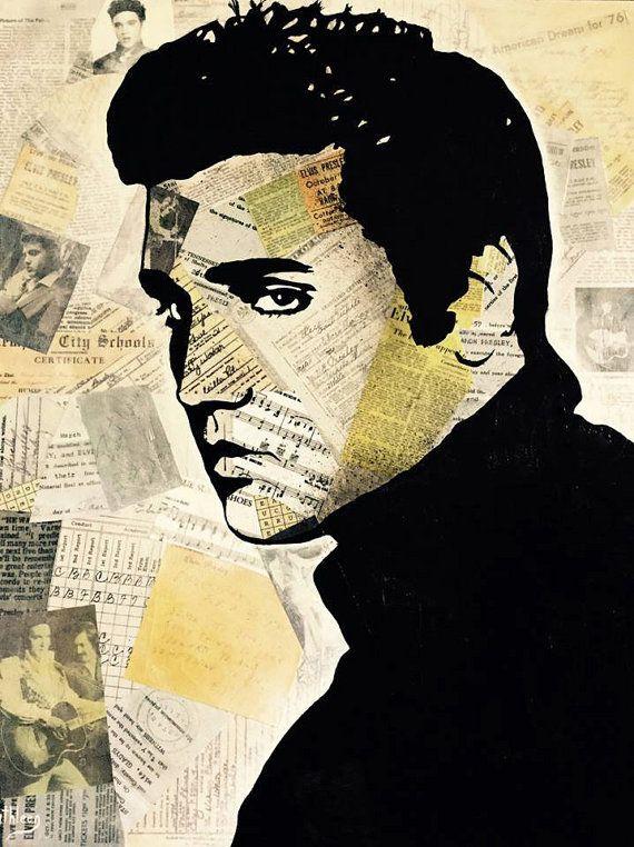 ART Abstract Portait Elvis Presley par KathleenArtistPro sur Etsy