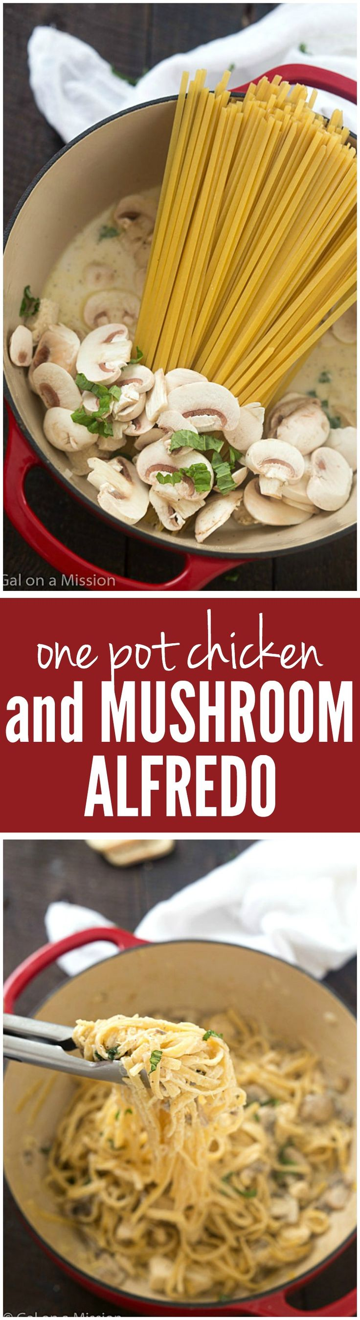 One-Pot Chicken and Mushroom Fettuccine Alfredo - A delicious and easy weeknight or weekend meal! Everything is simmered in just one pot, fewer dishes!