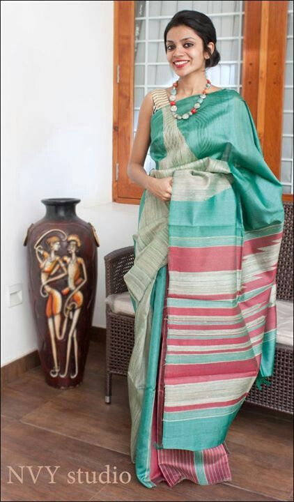 Unconventional colours do the trick! A sea green tussar silk saree by NYV Studio