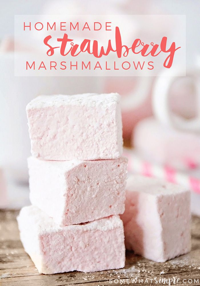 Homemade Strawberry Marshmallows - These gorgeous pink homemade strawberry marshmallows are surprisingly easy to make, and perfect for s'mores, hot chocolate, and valentine treats!