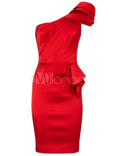 Sweet robe bodycon rouge à une épaule avec peplum en spandex unicolore plissée - Milanoo.com