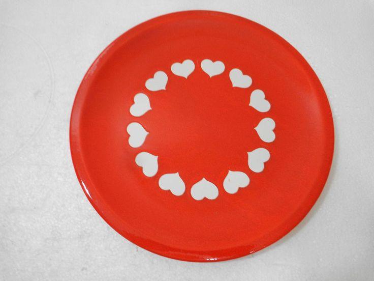 "Waechtersbach Heart Dinner Plate 10"" White Hearts on Red Plate Earthenware"