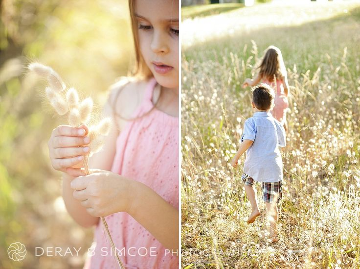 What to wear to a family portrait? Complimentary pastel tones create a soft look against the long dry grass. Photography by DeRay & Simcoe