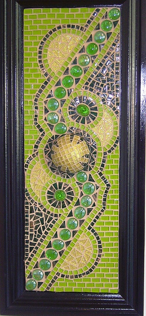 Pretty Green Abstract Design Mosaic On A Cabinet Door.