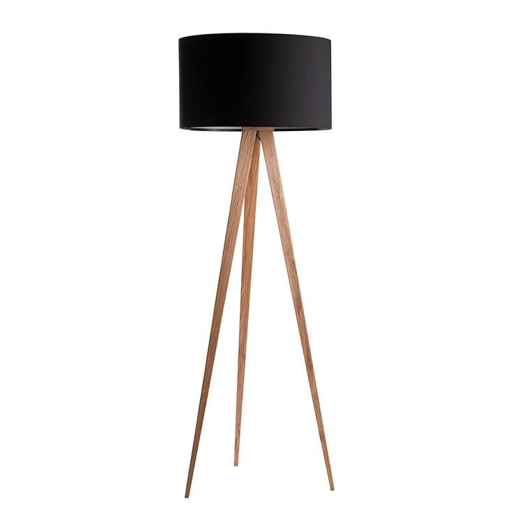 Lampadaire Tripod Wood - Noir | home24.fr
