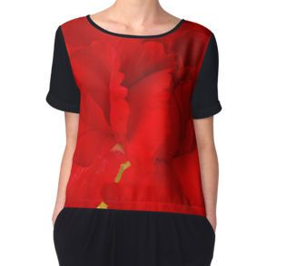 Women's Chiffon Top. #carnation #redcarnation #carnationmacro #redflower #carnationart #floralhomedecor #sandrafoster #sandrafosterredbubble  #macro #macrophotography #macroaddict