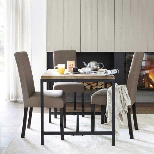 Table de salle à manger indus en bois massif et métal L 80 cm
