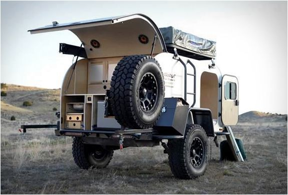 "MOBY1 XTR EXPEDITION TRAILER. It is the tear drop trailer and a rooftop tent. Really like the ""off road"" look"