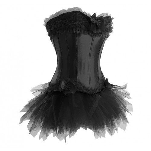 Black corset with trim and tutu