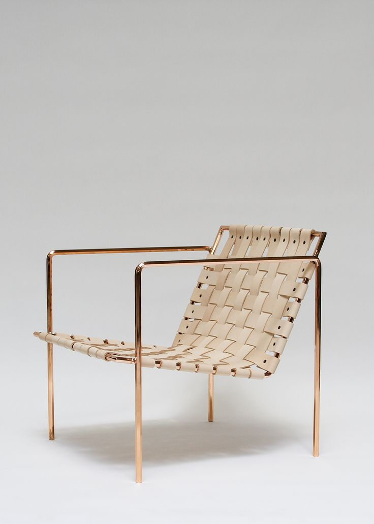 Eric Trine, rod+weave chair in leather and copper