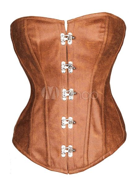 9df52ec886609 Brown Corsets Lace Up Polyester Bustier  Corsets