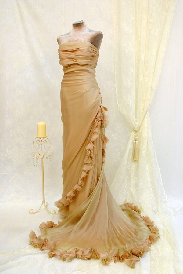 Gold wedding dress. The Joyce Young Couture/Vintage Inspired Designer Dress Sale http://www.joyceyoungoutlet.co.uk/