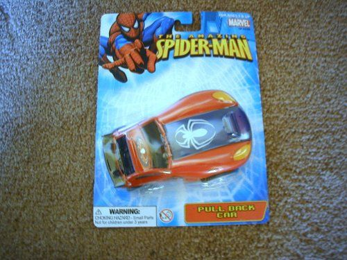 The Amazing Spider-Man Pull Back Car Toy. For Ages 3 & Up. 4-3/4 in. x 2-1/2 in. Shiny Red and Blue Combination. Warning: Choking Hazard. Small Parts. A Great Little Collectable. Factory Sealed. Manufacturer Minimun Age: 72 months. Not for children under 3 years.