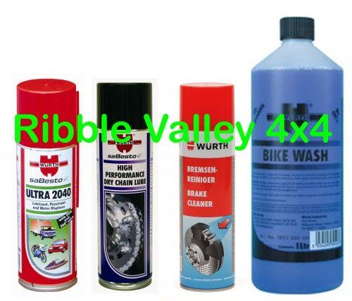 WURTH BIKE CLEAN + CARE KIT - DRY CHAIN LUBE, BIKE WASH, BRAKE CLEAN, ULTRA 2040
