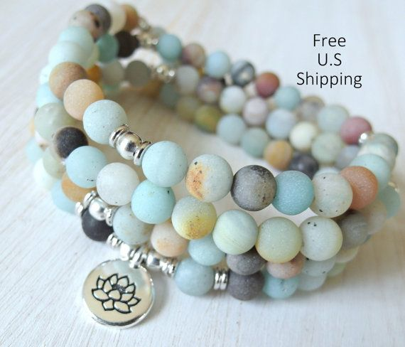 Amazonite Mala 108 beads Mala Bracelet or par LifeForceEnergyShop