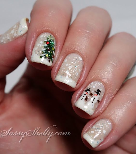 snowglobe nails -  snowychristmas tree & snowmen nail art by Sassy Shelly