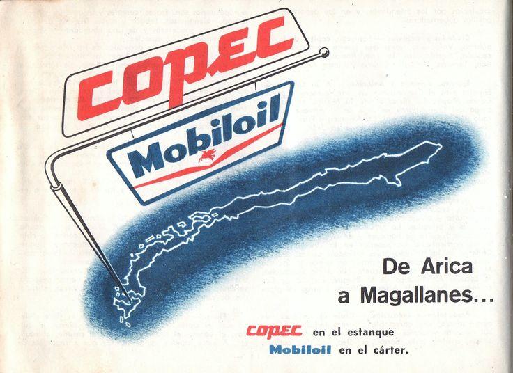 Copec en el estanque Mobiloil en el cárter. De Arica a Magallanes. Guía del Veraneante 1958