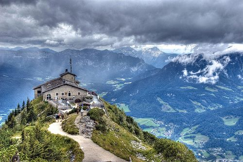 """Eagles nest"" Near the salt mines of Berchtesgaden is a mountain retreat called Obersalzberg (""above the salt mountain""). At the top of Obersalzberg is a house known as ""Eagle's Nest."" Hitler built this house and was only here 14 times on official buiness."