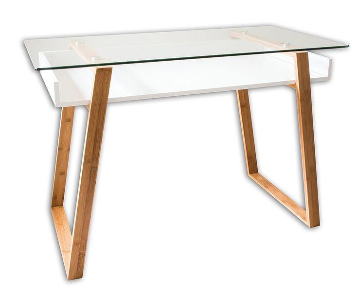 bonVIVO® Designer-Schreibtisch MASSIMO, moderner Sekretär in einem stilsicheren Materialmix aus Glas, Naturholz und weiß lackierter Ablagefläche: Amazon.de: Küche & Haushalt