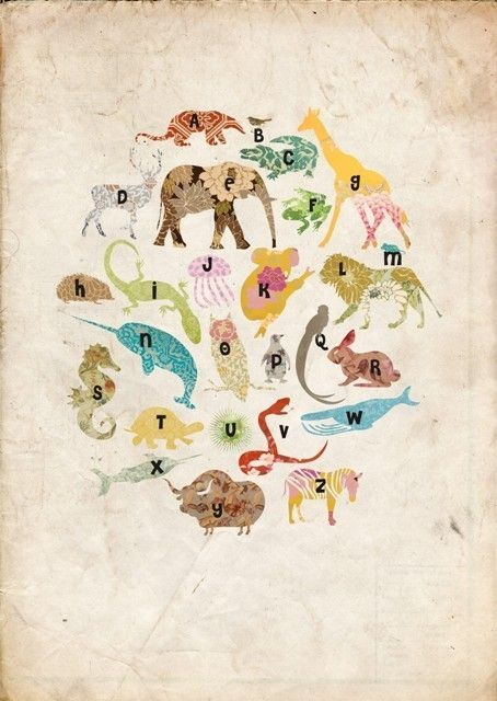 Animales para el ABC ^_^  Animals Alphabet Poster in vintage style by MarlaSea on Etsy