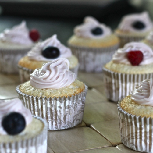 Angel food cupcakes with chambered cream cheese frosting...perfectly ...