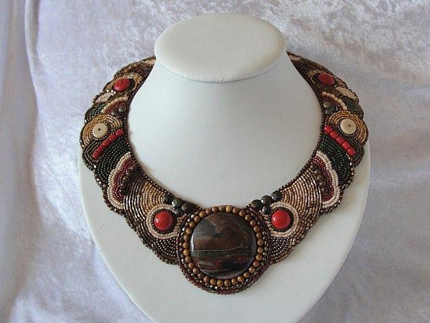 Glasketten - Perlenstickerei - Edles Glasperlencollier &quot... - ein Designerstück von Recycling-Art bei DaWanda